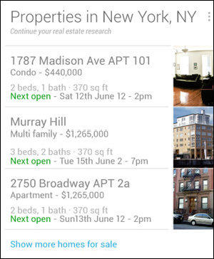 Google Now Real Estate Card